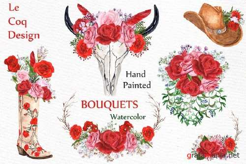 Watercolor Red Roses bouquets - 987814