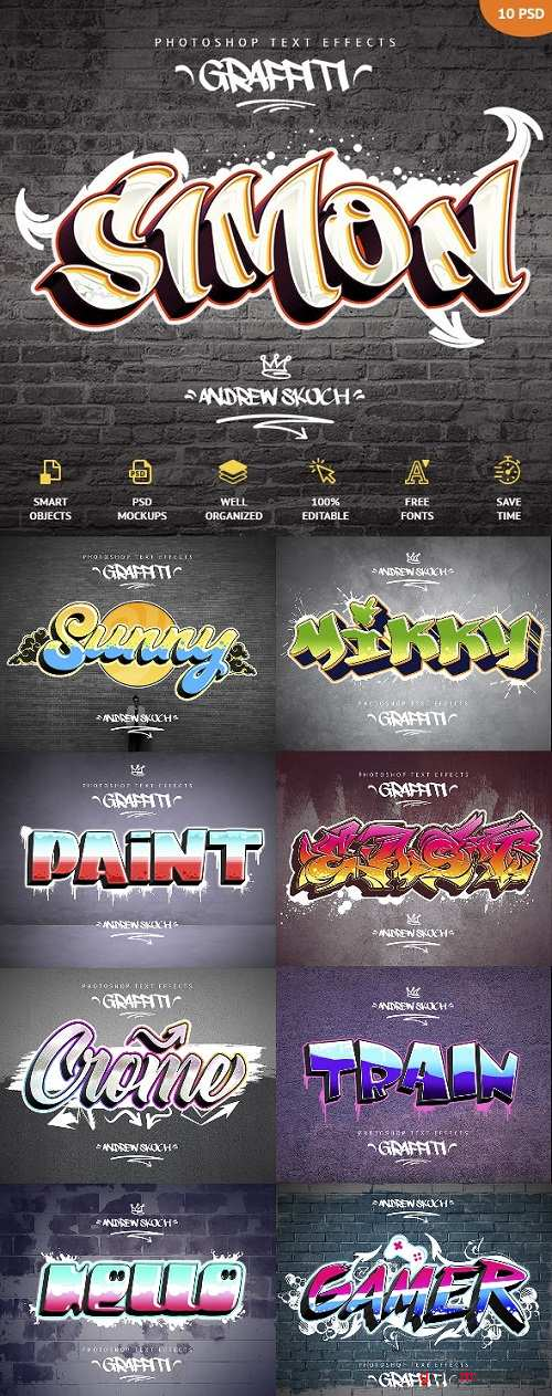Graffiti Text Effects - 10 PSD 23797200