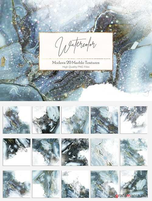 Watercolor and Marble PNG Textures - 2369097