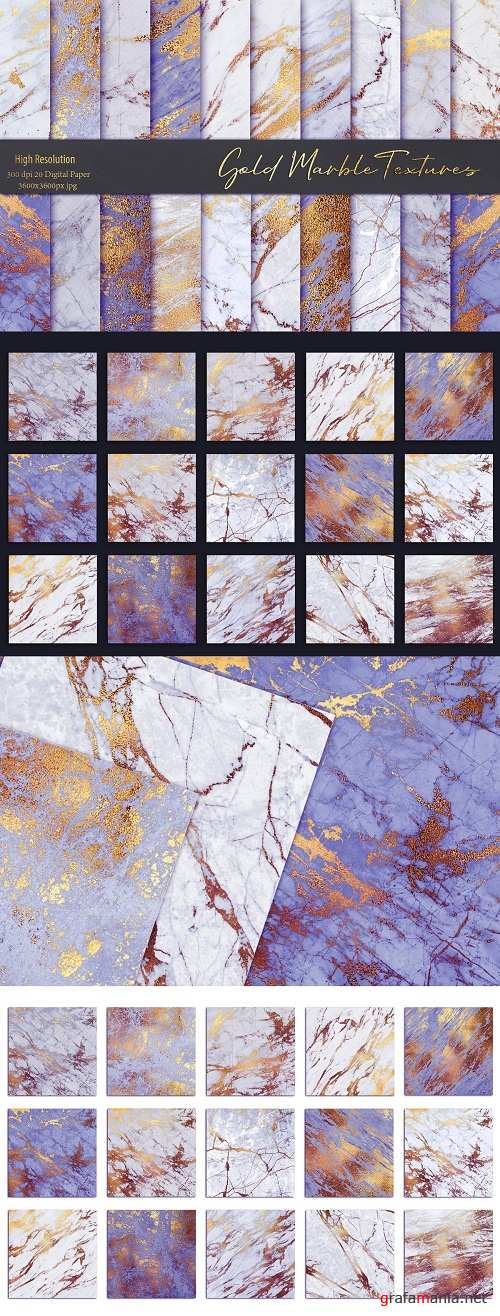 Purple and Gold Marble Textures - 3549303