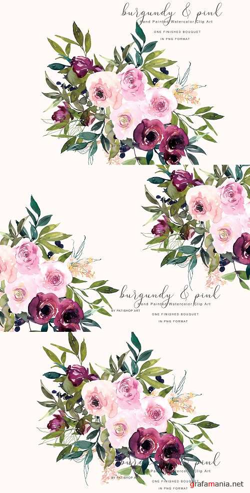Watercolor Burgundy and Pink Flower Clipart - 260410