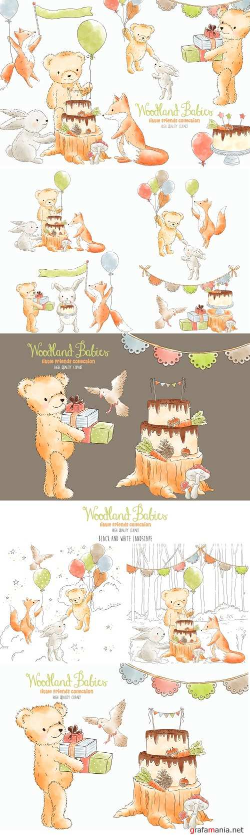 The Woodland Clipart Bundle | Forest Animals | Sublimation - 260568