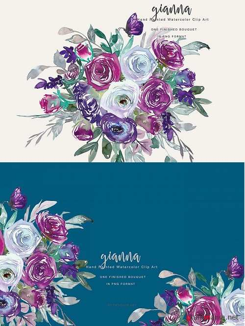 Watercolor Purple Violet and White Flower Clipart - 260407