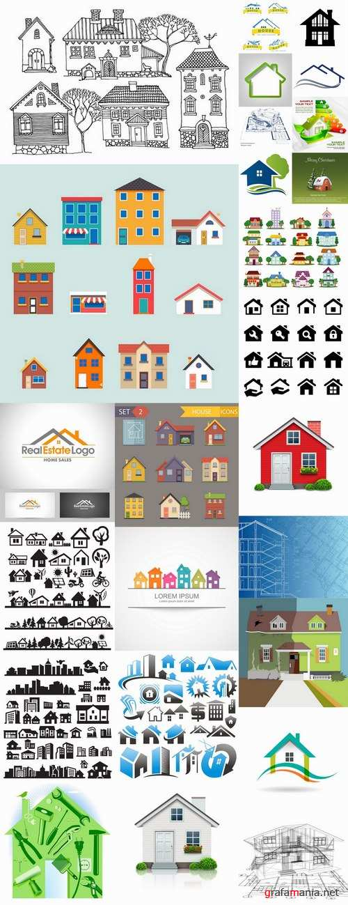 Logo house building corporation icon web design element site 7-25 EPS