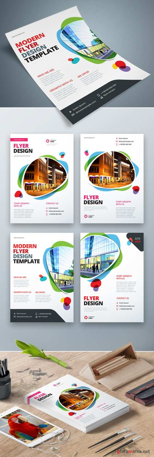 Four Flyer Layouts with Layered Abstract Spots