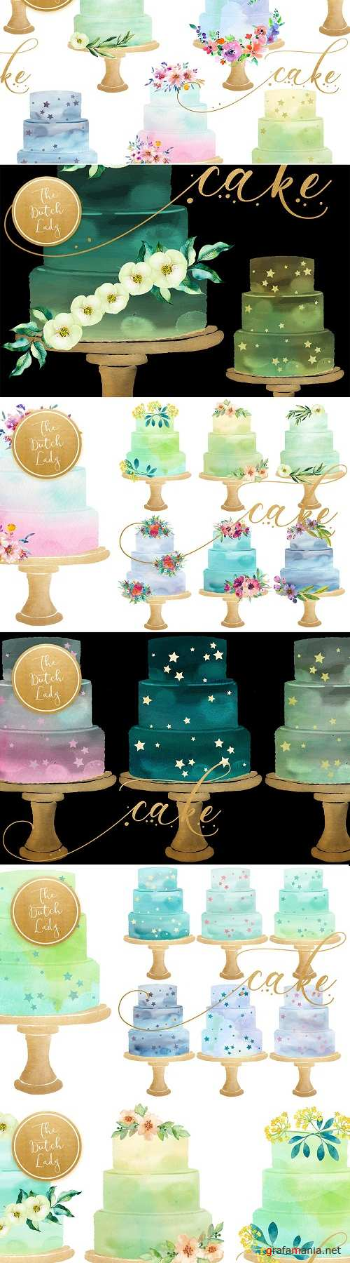 Watercolor Layered Cake Clipart - 2816518