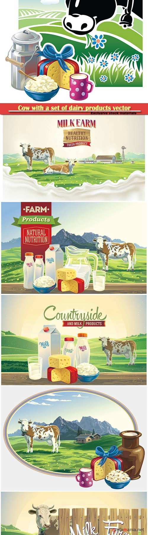 Cow with a set of dairy products vector illustration
