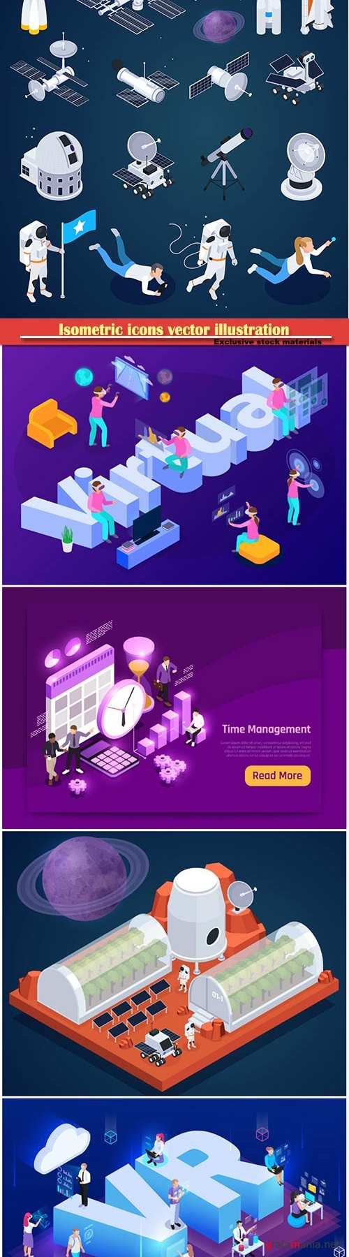 Isometric icons vector illustration, banner design template # 51