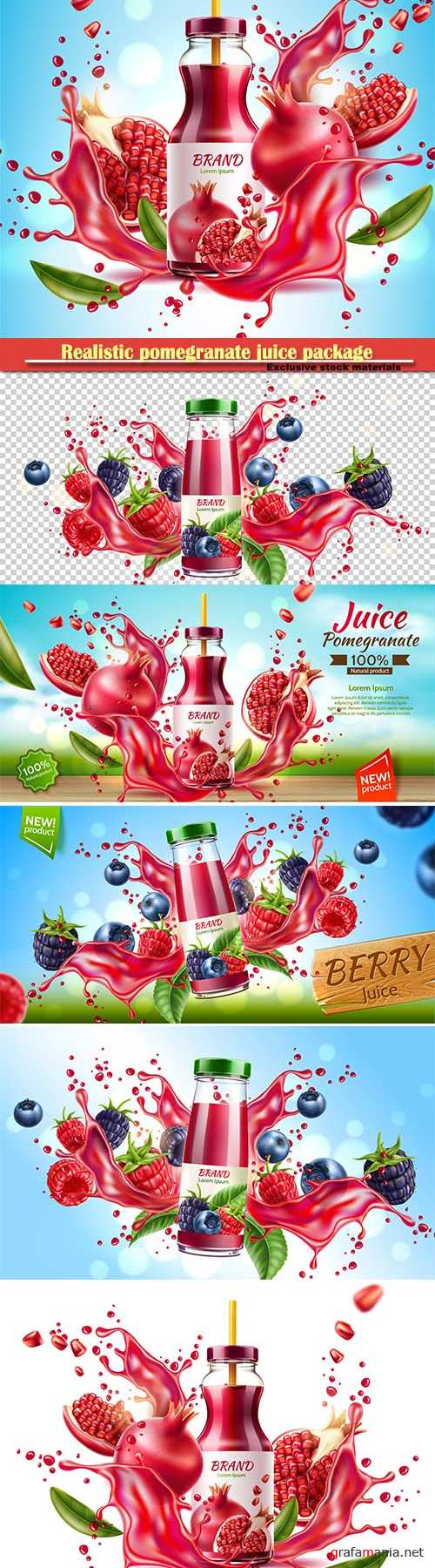 Realistic pomegranate juice package advertising design