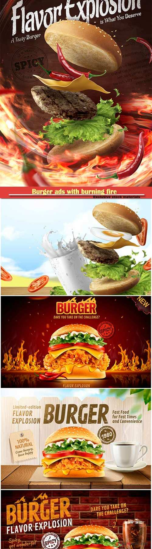Burger ads with burning fire and set menu in 3d illustration