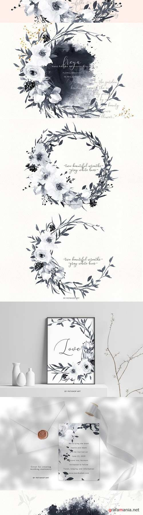 Gray & White Flowers Wreaths - 3784861
