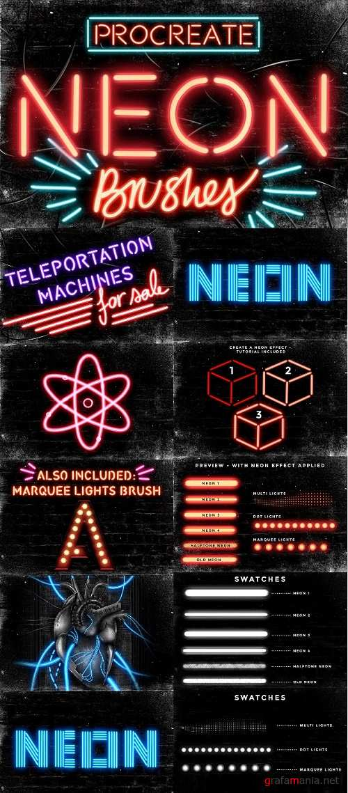 Set of 9 Neon Procreate brushes - 1599655