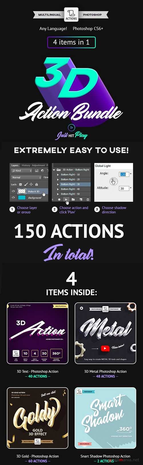 3D Bundle - Photoshop Actions - Multilingual 23837903