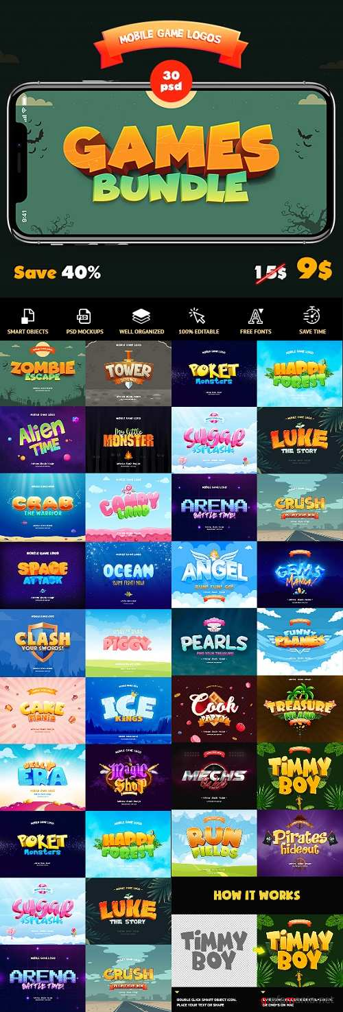 Game Titles Bundle - 30 Text Effects 23838928