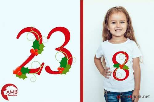 Mistletoe Red Numbers Clipart AMB-2128 - 256618
