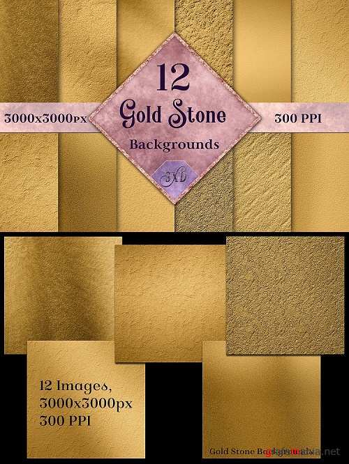 Gold Stone Backgrounds - 12 Image Textures Set - 269189