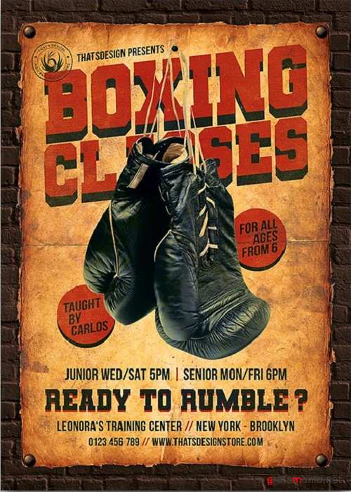 Boxing Classes Flyer Template - 3830545