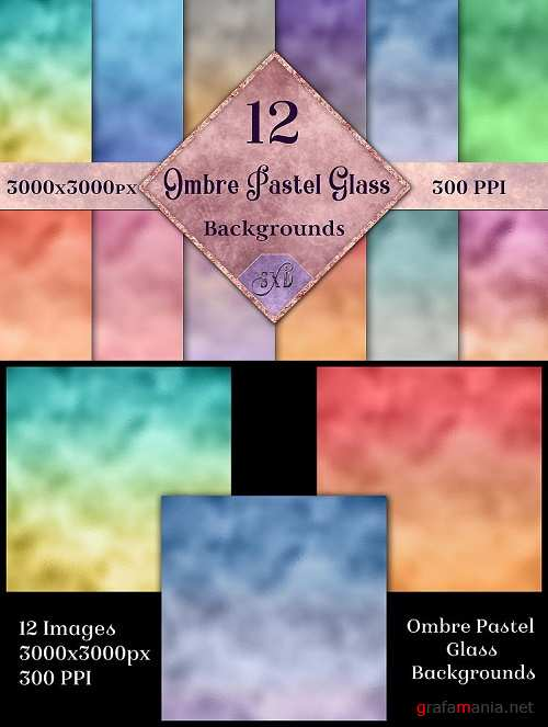 Ombre Pastel Glass Backgrounds - 12 Image Textures Set - 269357