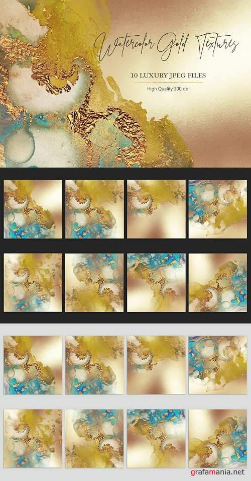 Watercolor Gold Foil Textures - 3733199