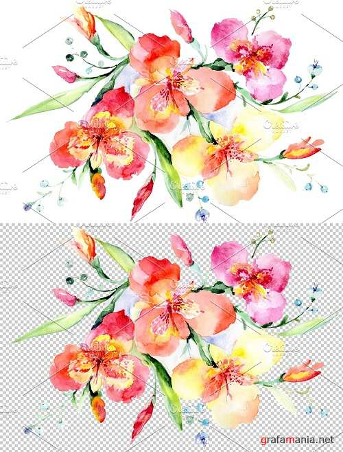 Bouquet red Night mystery watercolor - 3836846
