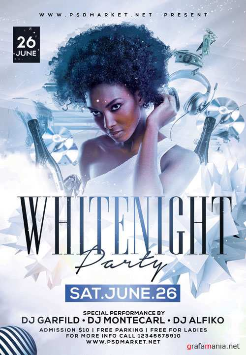 White Night Party Flyer - PSD Template