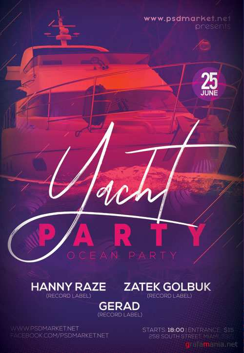 Yacht Party Flyer - PSD Template