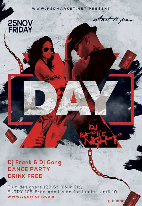 X-Day Party Flyer - PSD Template