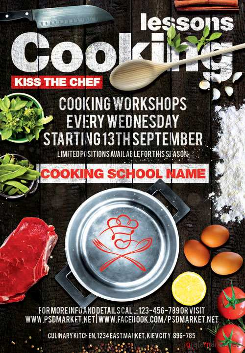 COOKING LESSONS – PREMIUM FLYER PSD TEMPLATE