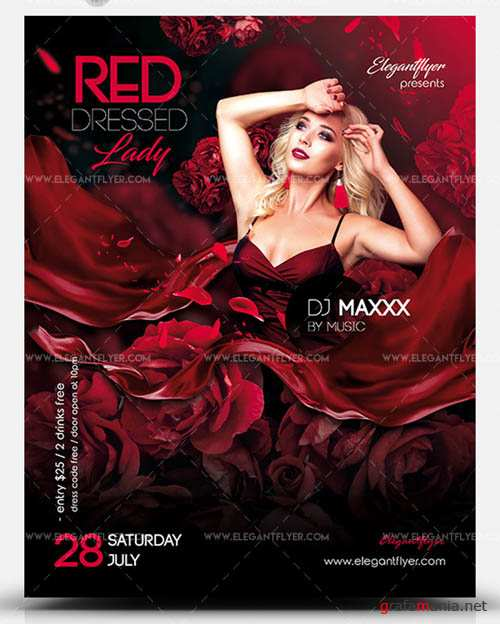 Red Dressed Lady V1 2019 PSD Flyer Template