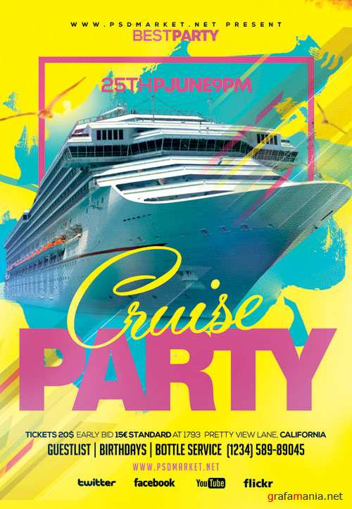 Cruise Party Event Flyer – PSD Template