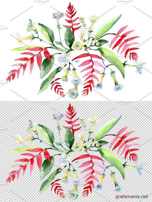 Bouquet Ariel watercolor png - 3836918