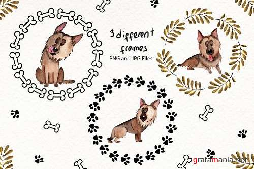 Watercolor Dog Illustrations 27044