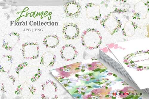 Apple blossom PNG watercolor set - 3100468