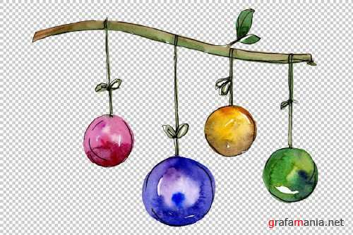 New Year decoration PNG watercolor - 3103176
