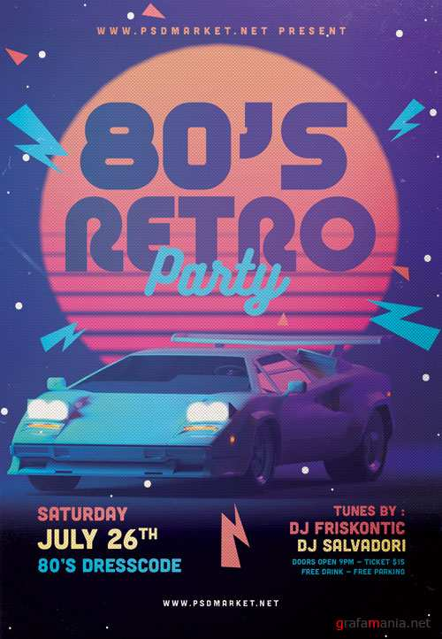 80S PARTY FLYER - PSD TEMPLATE