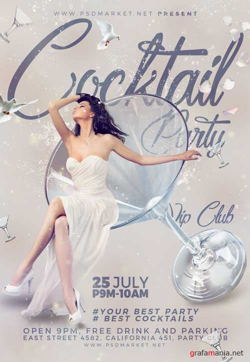 COCKTAIL PARTY FLYER - PSD TEMPLATE