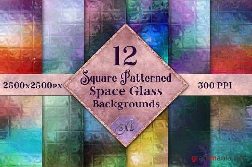 Square Patterned Space Glass Backgrounds - 12 Image Textures - 273044
