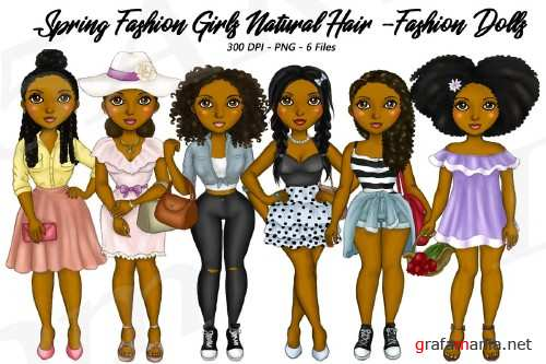 Spring Fashion Planner Clipart, Natural Hair Illustrations - 210409