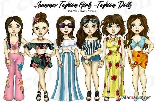 Summer Fashion Girls Planner Clipart, Fashion Girls PNG - 227882