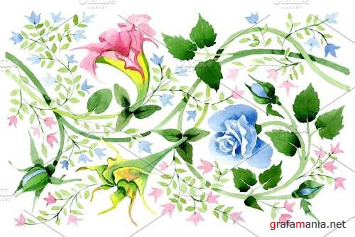 Floral watercolor pattern png - 3868446