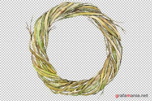 Watercolor wreath of branches png - 277538