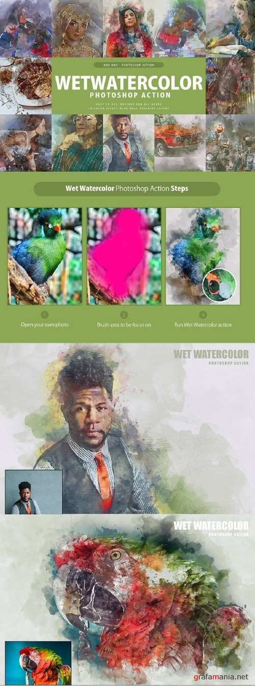 Wet Watercolor Photoshop Action 3357333