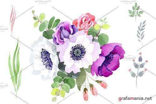 Bouquet Sweet music watercolor png - 3885158