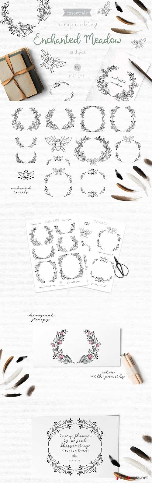 Doodle wreath clipart, digital stamps, botanical clipart - 272854