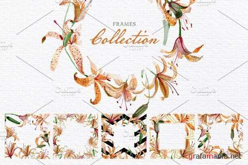 Orange lily Watercolor png - 3882999