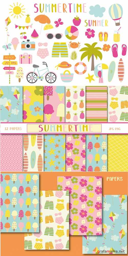 Summertime set, clipart and papers - 93019