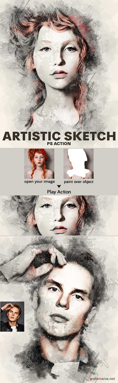 Artistic Sketch Photoshop Action - 23361679