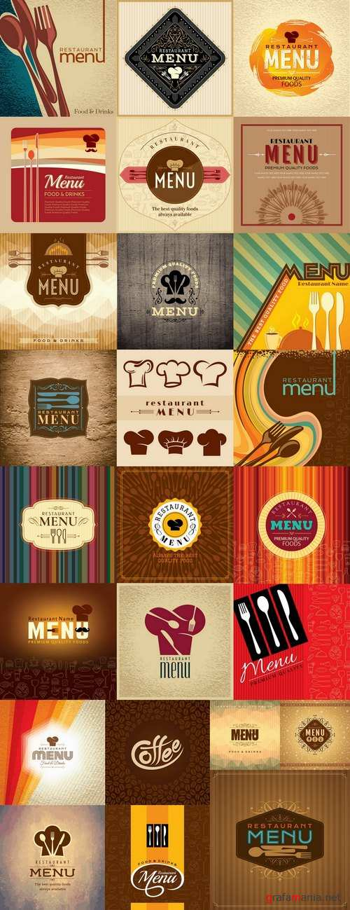 Menu food fast food cooking meal drink vector image 2-25 EPS