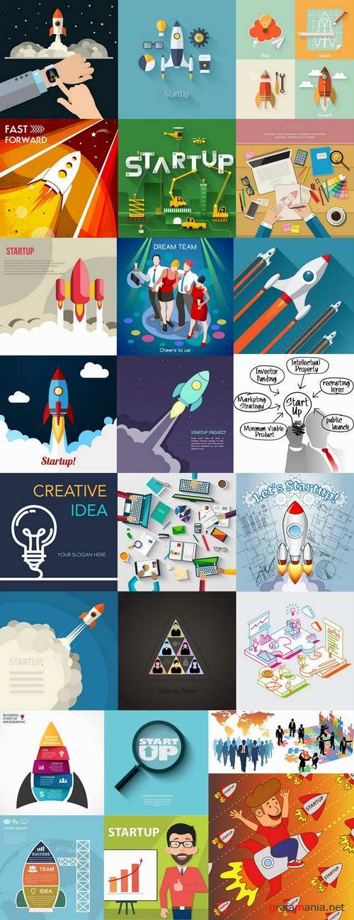 Business idea to start the development of startup success 25 EPS