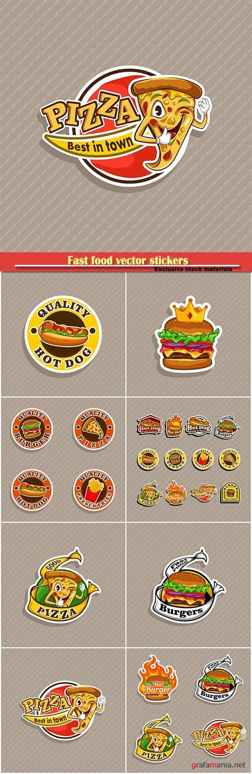 Fast food vector stickers